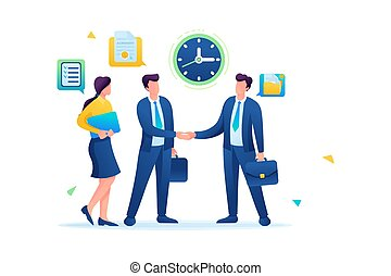 Businessmen of large companies sign an agreement and conclude a contract. Flat 2D. vector illustration web design.
