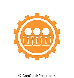 Businessmen on a gear icon