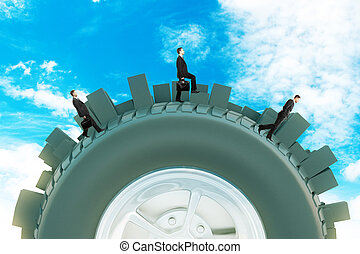 Businessmen on abstract city tire