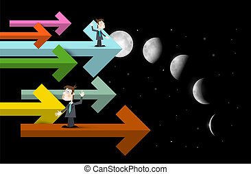 Businessmen on Arrows with Moon Phases Dark Sky on Background