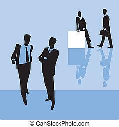 Businessmen on blue background