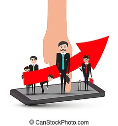 Businessmen on Mobile Phone with Hand and Big Up Red Arrow. Success in Busines Concept. Corporate Team Vector.
