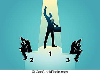 Businessmen on podium