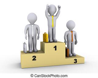 Businessmen on winners podium - 3d businessmen on winners...