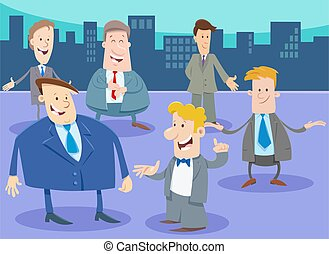 businessmen or men cartoon characters group in the city