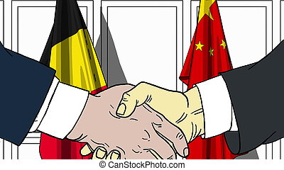 Businessmen or politicians shake hands against flags of Belgium and China. Official meeting or cooperation related cartoon illustration