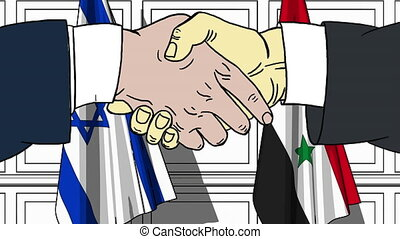 Businessmen or politicians shake hands against flags of...