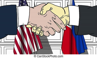 Businessmen or politicians shake hands against flags of USA...