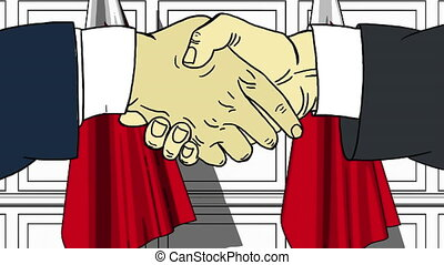 Businessmen or politicians shaking hands against flags of Bahrain. Meeting or cooperation related cartoon animation