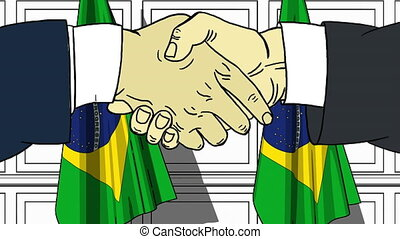 Businessmen or politicians shaking hands against flags of Brazil. Meeting or cooperation related cartoon animation