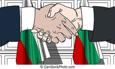 Businessmen or politicians shaking hands against flags of Bulgaria. Meeting or cooperation related cartoon animation