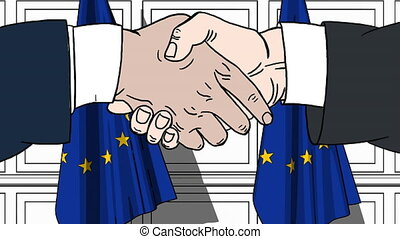 Businessmen or politicians shaking hands against flags of EU. Meeting or cooperation related cartoon animation
