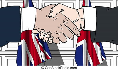 Businessmen or politicians shaking hands against flags of Great Britain. Meeting or cooperation related cartoon animation