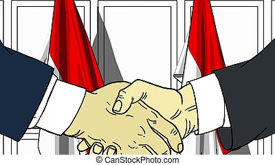 Businessmen or politicians shaking hands against flags of Indonesia. Meeting or cooperation related cartoon illustration
