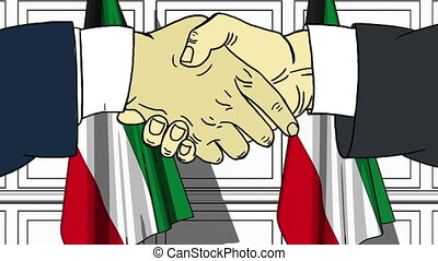 Businessmen or politicians shaking hands against flags of Kuwait. Meeting or cooperation related cartoon animation