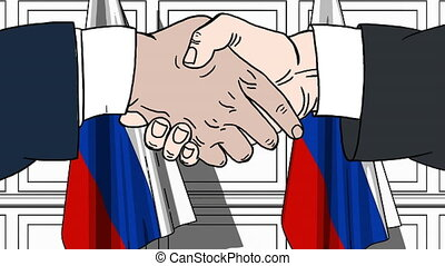 Businessmen or politicians shaking hands against flags of Russia. Meeting or cooperation related cartoon animation