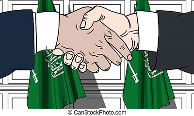 Businessmen or politicians shaking hands against flags of Saudi Arabia. Meeting or cooperation related cartoon animation