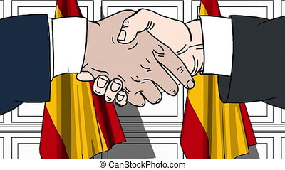 Businessmen or politicians shaking hands against flags of Spain. Meeting or cooperation related cartoon animation