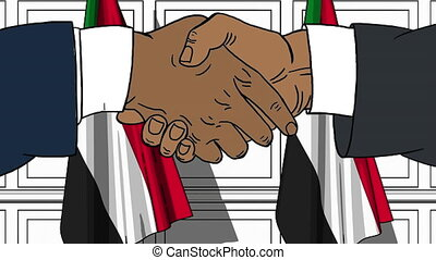 Businessmen or politicians shaking hands against flags of Sudan. Meeting or cooperation related cartoon animation