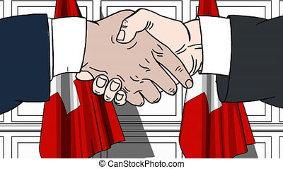 Businessmen or politicians shaking hands against flags of Switzerland. Meeting or cooperation related cartoon animation