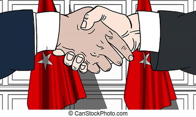 Businessmen or politicians shaking hands against flags of Turkey. Meeting or cooperation related cartoon animation