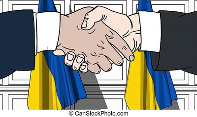 Businessmen or politicians shaking hands against flags of Ukraine. Meeting or cooperation related cartoon animation