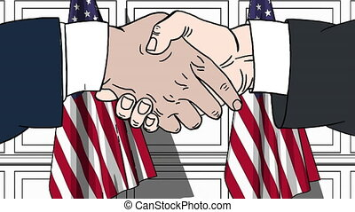 Businessmen or politicians shaking hands against flags of USA. Meeting or cooperation related cartoon animation