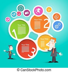 Businessmen or Teachers with Circle Paper Infographic Layout and Technology Icons