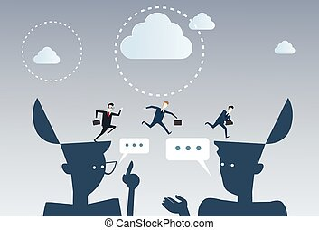 Businessmen Over Open Heads Thinking Business Ideas Inspiration, Creative Process Concept Brainstorming