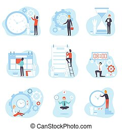 Businessmen Planning and Controlling Working Time Set, Time Management Business Concept Vector Illustration