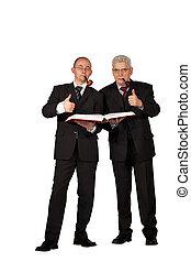 businessmen posing thumbs up