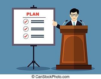 Businessmen presentation of business plan-Vector Flat Design Illustration