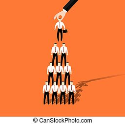 Businessmen promotion to higher position. Vector