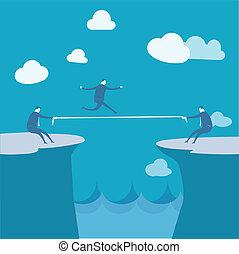 Businessmen Pulling together on a cliff