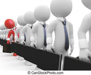 Businessmen queuing