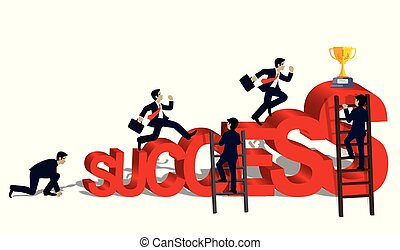 Businessmen race for business success concept. and the progress is higher. Go to the destination Highest point and ultimate goal. Cartoon, vector illustration.