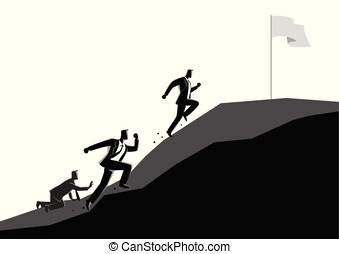 Businessmen racing uphill to seize the flag - Business...