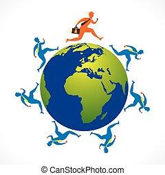 businessmen run around the world