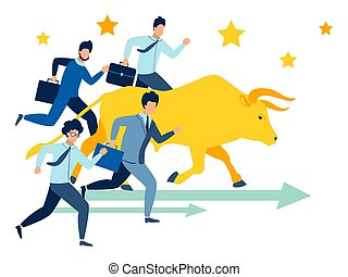 Businessmen run race with bull vector illustration