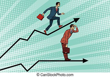 Businessmen running chart growth and look forward