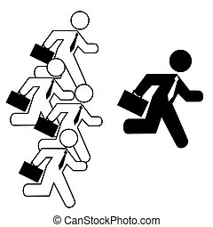 Businessmen running - Concept illustration showing a ...