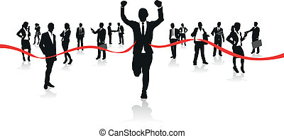 businessmen running to the finish line