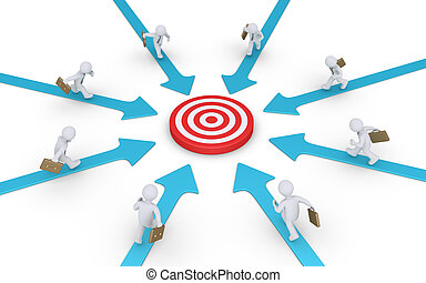 Businessmen running to target