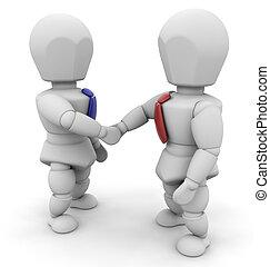 Businessmen shaking hands - 3D render of two businessmen ...