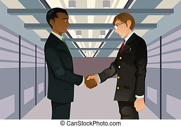 Businessmen shaking hands - A vector illustration of two...