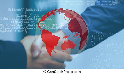 Businessmen shaking hands and a globe with program codes