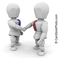 Businessmen shaking hands - 3D render of two businessmen...