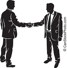 businessmen shaking hands (silhouette business contacts, meeting of businessmen, businessman shake)