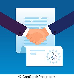 Businessmen shaking hands to sign contract. Partnership...
