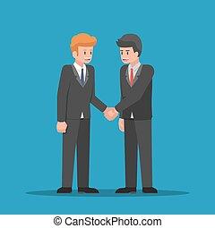 Businessmen shaking hands together.
